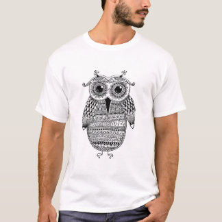 Ethnic Owl Ink Drawing T-Shirt
