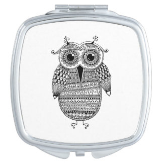 Ethnic Owl Ink Drawing Travel Mirror