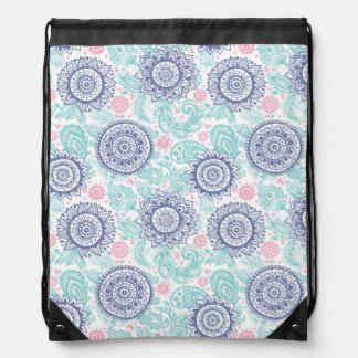 Ethnic Paisley Pattern Drawstring Bag