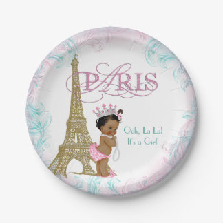 Ethnic Paris Baby Shower Paper Plate