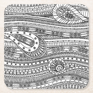 Ethnic Pattern Doodle Square Paper Coaster