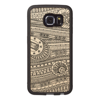 Ethnic Pattern Doodle Wood Phone Case