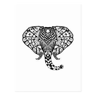 Ethnic Pattern Elephant Postcard