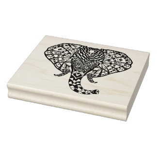 Ethnic Pattern Elephant Rubber Stamp