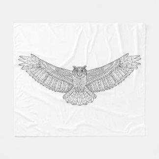 Ethnic Patterned Eagle Owl Fleece Blanket
