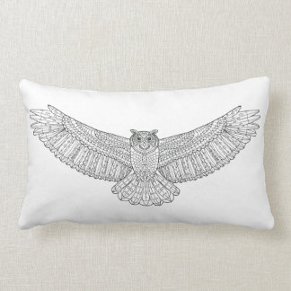 Ethnic Patterned Eagle Owl Lumbar Cushion