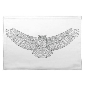 Ethnic Patterned Eagle Owl Placemat
