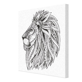 Ethnic Patterned Lion Head 6 Canvas Print