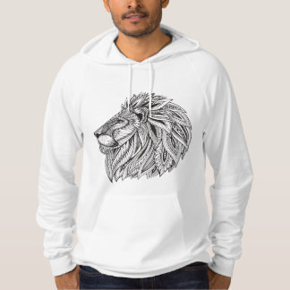 Ethnic Patterned Lion Head Hoodie