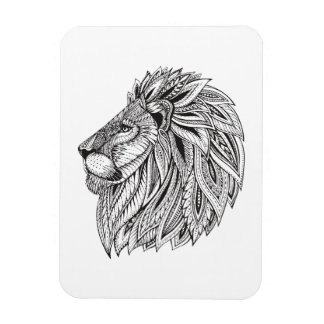 Ethnic Patterned Lion Head Rectangular Photo Magnet