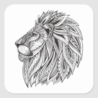 Ethnic Patterned Lion Head Square Sticker
