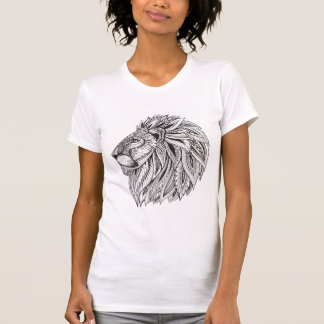 Ethnic Patterned Lion Head T-Shirt