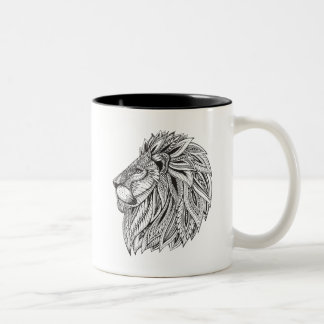 Ethnic Patterned Lion Head Two-Tone Coffee Mug