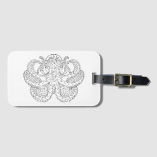 Ethnic Patterned Octopus Luggage Tag