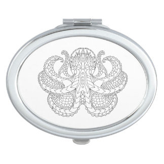 Ethnic Patterned Octopus Travel Mirror