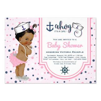 Ethnic Pink Navy Blue Girl Nautical Baby Shower 11 Cm X 16 Cm Invitation Card