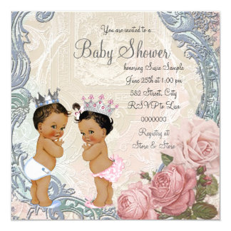 Ethnic Prince and Princess Twin Baby Shower 13 Cm X 13 Cm Square Invitation Card