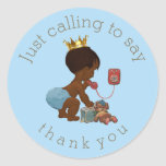 Ethnic Prince on Phone Thank You Baby Shower Round Sticker