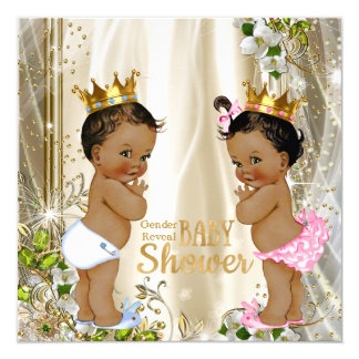Ethnic Prince Princess Gender Reveal Baby Shower 13 Cm X 13 Cm Square Invitation Card