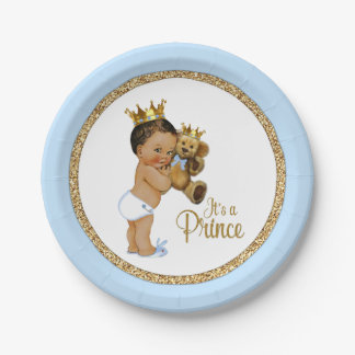 Ethnic Prince Teddy Bear Boy Baby Shower Paper Plate