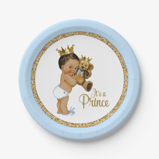 Ethnic Prince Teddy Bear Boy Baby Shower Paper