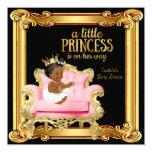 Ethnic Princess Baby Shower Black Pink Gold Chair 13 Cm X 13 Cm Square Invitation Card