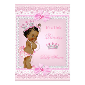 Ethnic Princess Baby Shower Girl Pink Pearls Tiara 13 Cm X 18 Cm Invitation Card