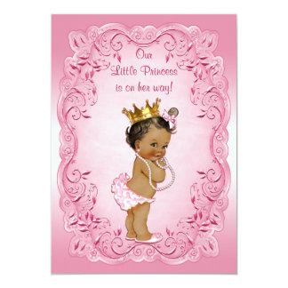 Ethnic Princess Baby Shower Pink Fancy Frame 13 Cm X 18 Cm Invitation Card