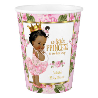 Ethnic Princess Baby Shower Pink Gold Rose Floral Paper Cup