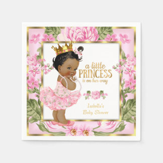Ethnic Princess Baby Shower Pink Gold Rose Floral Paper Serviettes