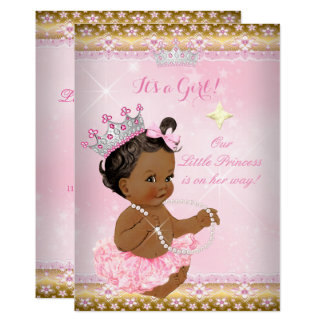 Ethnic Princess Baby Shower Pink Tutu Gold Tiara A Card