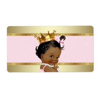Ethnic Princess Baby Shower Water Bottle Label Shipping Label