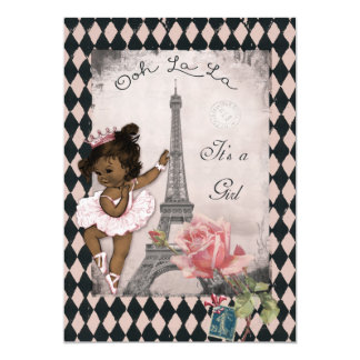 Ethnic Princess Ballerina Eiffel Tower Baby Shower 13 Cm X 18 Cm Invitation Card