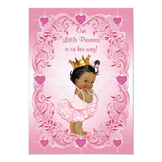 Ethnic Princess Ballerina Love Hearts Baby Shower Card