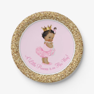 Ethnic Princess Ballerina Pink Gold Baby Shower 7 Inch Paper Plate