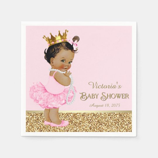 Ethnic Princess Ballerina Pink Gold Baby Shower Disposable