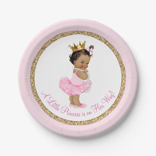 Ethnic Princess Ballerina Pink Gold Baby Shower Paper