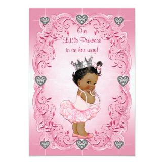 Ethnic Princess Ballerina Silver Heart Baby Shower Card