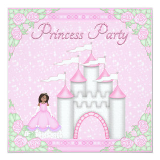Ethnic Princess & Castle Pink Princess Party Invitations