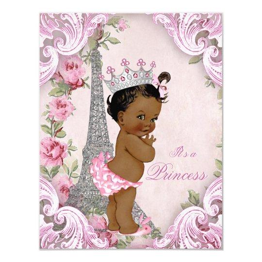 Ethnic Princess Floral Vintage Paris Baby Shower Card