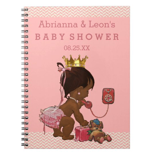 Ethnic Princess on Phone Baby Shower Guest Book