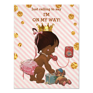 Ethnic Princess On Phone Gold Confetti Baby Shower Card