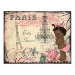Ethnic Princess Paris Eiffel Tower Baby Shower Personalized Invitations