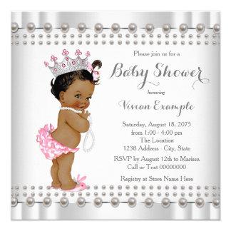 Ethnic Princess Pearl Hispanic Indian Baby Shower 13 Cm X 13 Cm Square Invitation Card