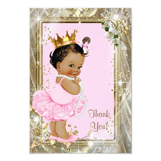 Ethnic Princess Pearls Flat Baby Shower Thank You