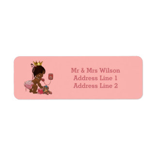 Ethnic Princess Phone Teddy Suitcase Baby Shower Return Address Label