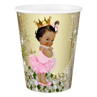 Ethnic Princess Pink Gold Baby Shower Paper Cup