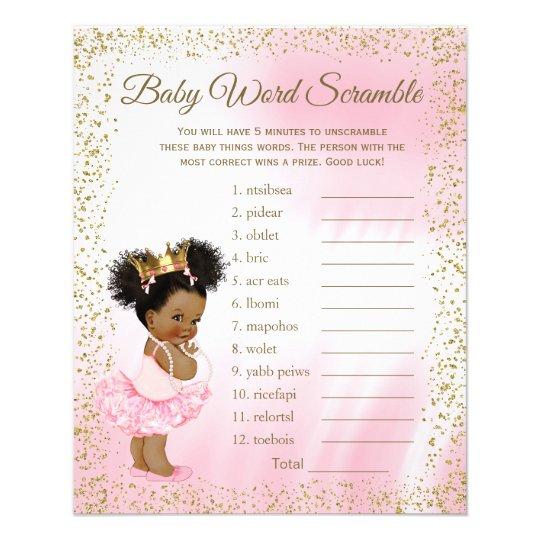 Ethnic Princess Tutu Girl Baby Shower Games Flyer