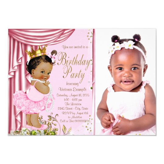 Ethnic Princess Tutu Pearl Birthday Party Card
