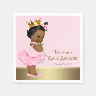 Ethnic Princess Tutu Pearls Pink Gold Baby Shower Paper Napkins